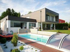 Flachdach - Etzi - Haus | Das Ziegel Massiv Haus Modern Homes, Mansions, House Styles, Outdoor Decor, Home Decor, Flat Roof, Brick, Haus, Modern Houses