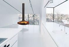 Modern minimal fireplaces – cozy home warm Suspended Fireplace, Hanging Fireplace, Focus Fireplaces, Modern Fireplaces, Deco Design, Fireplace Design, Sustainable Design, Cozy House, Home Interior Design