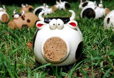 Black and White Cow Ceramic Coin Bank IN STOCK by ShopBeckyZee