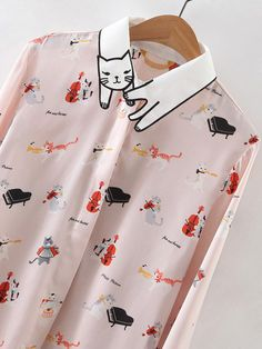 Shop Apricot Embroidered Collar Cat Print Blouse online. SheIn offers Apricot Embroidered Collar Cat Print Blouse & more to fit your fashionable needs.