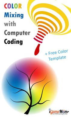Color mixing activity with computer coding for kids preschool and kindergarten. Learn RGB code and color mixing theory and computer skills with free spring themed coloring template. STEAM project for computer and art class #iGameMomSTEM #STEMforKids #CodingForKids