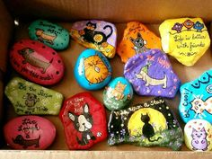 Dogs & cats, painted rocks