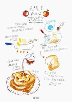 apple french toast recipe illustration by Heaven Kim instagram/moreparsley