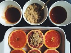 broiled grapefruit with spices and herbs | local haven.  Broiled Grapefruit with Honey, Cinnamon & Cayenne Pepper  /  Broiled Grapefruit with Rosemary & Sea Salt /  Broiled Grapefruit with Maple Syrup and Ginger