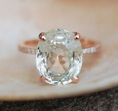GIA Sapphire Engagement Ring 18k Rose Gold 8.54ct Unheated Jasmine Oval Sapphire Ring