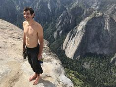 Alex Honnold on the summit of El Capitan, after free solo of Freerider (3000 ft 5.12d) Yosemite National Park, California