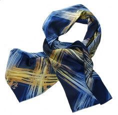 Blues and Golds Over Navy Blue - Hand Painted Charmeuse Silk Scarf (approx.11x60 inches) by Laura Elderton www.etsy.com/shop/lauraelderton