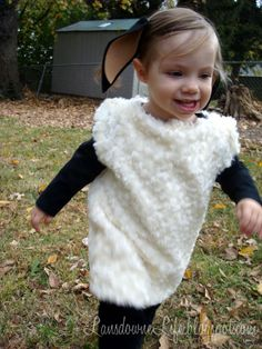 How to Make a Sheep Costume | bought a white onesie in a size bigger than she currently wears ...