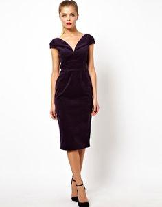 Image 4 ofASOS Off Shoulder Velvet Pencil Midi Dress