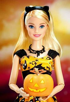 """"""" is the time to use your imagination and be creative with fun (or scary) costumes! What are you dressing up as this year?"""" - See, Barbie doesn't always need pink to look good. Celebrity Barbie Dolls, Barbie Fashionista Dolls, Barbie I, Barbie World, Barbie And Ken, Barbie Style, Barbie Clothes, Barbie Halloween, Happy Halloween"""