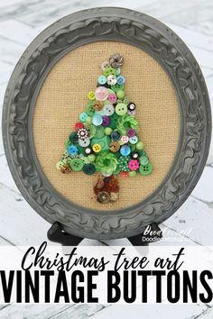 I love buttons. Christmas Tree Art, Christmas Love, Christmas Tree Decorations, Christmas Crafts, Christmas Ornaments, Vintage Christmas, Button Crafts For Kids, Holiday Crafts For Kids, Diy Buttons