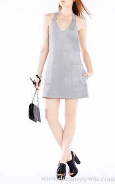 BCBG Abbott Faux Suede Short Summer Dress Light Grey