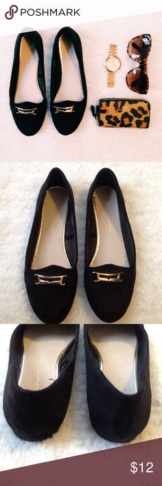 "Atmosphere Suede Loafers Black suede-like loafers. Gold toe accent. True to size.   Condition: Gently worn.   ◆If you'd like more pics or have questions, ask! ◆If you'd like to make an offer, please use ""Offer"" button. 🚫NO TRADES🚫 Atmosphere Shoes Flats & Loafers"
