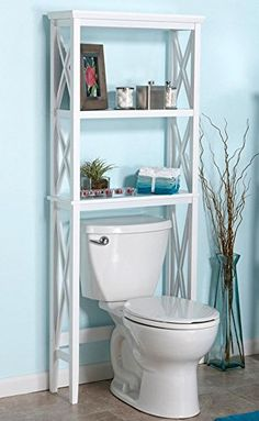 Bathroom Space Saver & Toilet Organizer Furniture w/ Storage Shelves in White color Bathroom Caddy, Zen Bathroom, Bathroom Shelves, Small Bathroom, Budget Bathroom, Home Office Organization, Bathroom Organisation, Shelves Over Toilet, Toilet Storage