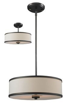 too black / modern. office area - View the Z-Lite 165-16 Cameo 3 Light Full Sized Pendant with Cream Shade at LightingDirect.com.