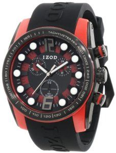 IZOD Men's IZS2/3 BLK/RED Sport Quartz Chronograph Watch IZOD. $50.63. Bold color dial and case. Quartz movement. Water resistant. Durable mineral crystal protects watch from scratches,. Bold polycarbonate and stainlesss steel case