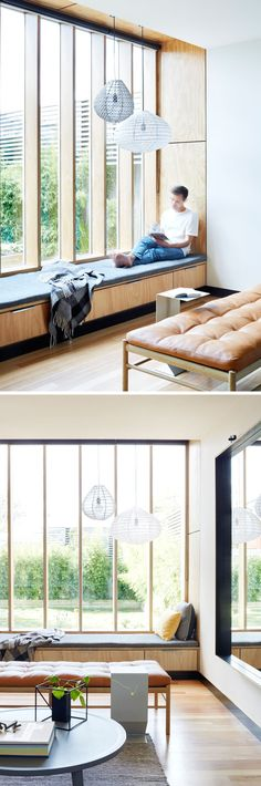 Wood Extension Creates Extra Living Space In This Australian House This built-in wood window seat takes advantage of the light from the tall windows and looks out onto the backyard. There's also hidden storage underneath the upholstered cushion. Tall Windows, Wood Windows, Ceiling Windows, Window Benches, Window Seats, Bedroom Benches, Wood Bedroom, Window Sill, Bedroom Ideas