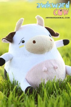 Designer plush toys and apparel. Unique take on stuffed animals. Everyone has awkward moments, Awkward Animal will be there for you one awkward moment at a time Cute Stuffed Animals, Cute Animals, Farm Animals, Softies, Plushies, Wong Fu Productions, Awkward Animals, Cow Logo, Kawaii Plush