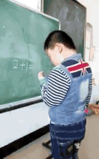 2+1=ok math chalkboard school algebra dumb kid