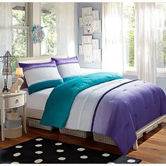 Bring the soothing tone to your bedroom with the Sunset Dream Ombre comforter set with a soft ombre of purple, white, and turquoise. This beautiful bedding instantly adds a sea of color to your bedroom.