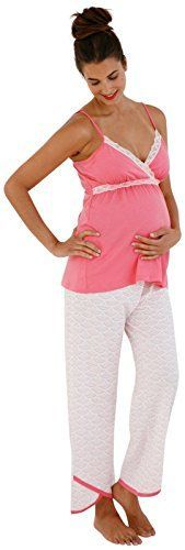 Belabumbum Hana Nursing Cami Pant Set XLarge WhiteCoral ** You can get more details by clicking on the image. (This is an affiliate link and I receive a commission for the sales) Nursing Wear, Hana, Image Link, Jumpsuit, Note, Amazon, Awesome, Check