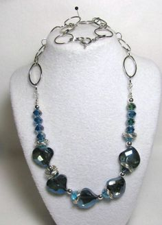 """Item 1364 - Beautiful AB Crystal Cut Blue Hearts, Crystal 12mm Beads, ChainMail to Flatter and Large Link Chain 27"""" Necklace $48 + $5 S&H. (see matching bracelet)  Visit all my BEAUTIFUL jewelry pages, just follow the link: https://www.facebook.com/linda.foust.9?sk=photos..."""