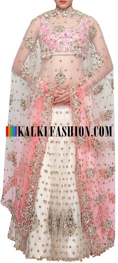 Get this beautiful lehenga here: http://www.kalkifashion.com/pink-and-white-lehenga-embellished-in-kundan-and-zari-embroidery-only-on-kalki.html Free shipping worldwide.
