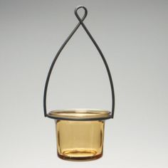Hanging Tealight Lantern - Metal Wire With Flared Glass Cup - Amber