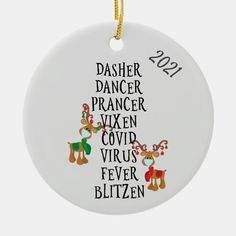 Christmas Funny Reindeer Names Covid 2021 Ceramic Ornament - tap/click to personalize and buy #CeramicOrnament #christmas, #ornament, #coronavirus, #covid, #reindeer,