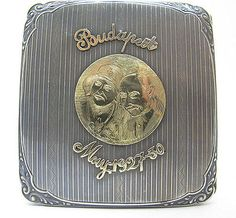 Antique-1927-31-Folk-Art-14K-Gold-800-Silver-Compact-Case-Budapest-Stockholm-yqz