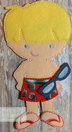 Items similar to Beach Boy: Felt Boy Doll Swimsuit and Sunglasses Set on Etsy Crafts For Boys, Adult Crafts, Baby Crafts, Popsicle Stick Crafts, Dress Up Dolls, Barbie, Boy Doll, Cristiano, Felt Toys