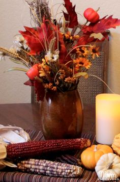 Turn hardware store items into a DIY vase & Thanksgiving centerpiece! #thanksgiving