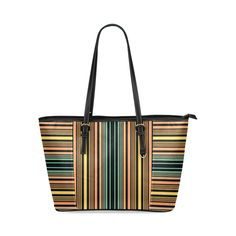 Summer Stripes Leather Tote Bag/Small (Model 1640) #stripes #totebag #giftidea #alternatingstripes