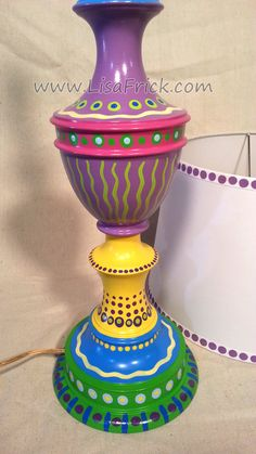 Hand Painted Table Lamp and Shade 014 Fun Funky by LisaFrick