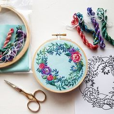 """560 Me gusta, 9 comentarios - Jessica Long (@namaste_embroidery) en Instagram: """"Oh man I am SO EXCITED about this! My popular Delicate Roses pattern is now a KIT featuring SO MUCH…"""""""