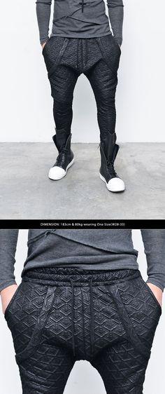 Bottoms :: Sweatpants :: Re) Coated Y Embossed Drop Jogger-Sweatpants 169 - GUYLOOK Men's Trendy Fashion Clothing Online