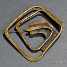 Brooch | Art Smith.  Brass and copper.  Mid 20th century || $660 ~ sold Dec '07