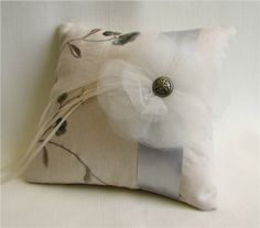 Luxe Embroidered Linen Ring Bearer Pillow - Ivory, silver grey, and pale blue embroidered ring cushion with ruffled tulle flower accent, vintage inspired.