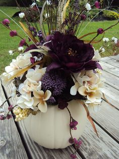Large Elegant Purple Floral White Pumpkin Table Centerpiece Wedding Halloween Fall Tuscan. $50.00, via Etsy.