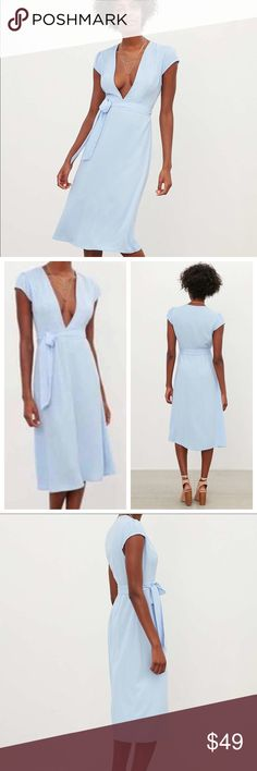 """URBAN OUTFITTERS Kimchi Blue Cap Sleeve Dress Gorgeous and feminine cap sleeve dress with plunging neckline, periwinkle blue, breezy, missing the waist tie, side zipper enclosure, color is the color in stock photos.. hard to photograph ;)   40"""" bust 45"""" length 15"""" length from shoulder to waist Urban Outfitters Dresses Midi"""