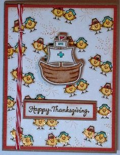 DeNami Thanksgiving Pilgrim Chickies card by @Christy Pratt