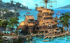 paintings ocean mod ships bar pirates tropical buildings islands sharks palm trees Jolly Roger caribbean modified Russians  / 1920x1200 Wallpaper