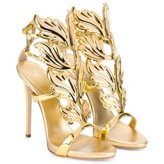 Giuseppe Zanotti Coline Metallic Leather Sandals ($1,600) ❤ liked on Polyvore featuring shoes, sandals, heels, gold, ankle tie sandals, heeled sandals, metallic sandals, giuseppe zanotti and genuine leather shoes
