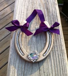 Decorated purple and metallic latte steel horseshoe by MauveMoose, $16.00