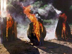 Hapsical: Artist: David Nash Air Fire, Outdoor Sculpture, Land Art, Graphic Design Illustration, Installation Art, Amazing Art, Contemporary Art, Earth, Landscape
