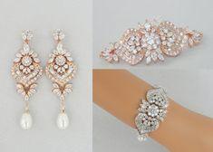Rose Gold Bridal Bracelet Crystal Bridal by CrystalAvenues on Etsy