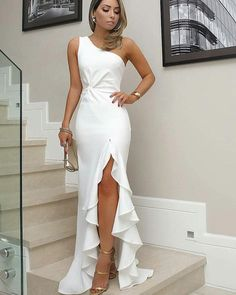 White One Shoulder Prom Dress, Split Pleat Satin Mermaid Prom Dresses, Wedding Party Dresses, Evening Party Gowns, 380 · Loveprom · Online Store Powered by Storenvy Formal Dresses For Women, Elegant Dresses, Dress Formal, White Formal Dresses, Birthday Dresses For Women, Elegant White Dress, Beautiful Dresses For Women, Formal Prom, Classy Dress