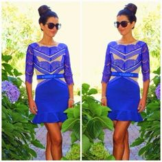 How to Chic: GET THE BLOGGERS LOOK - BLUE LACE DRESS