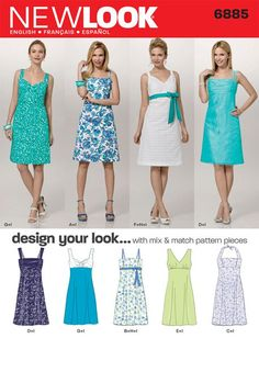 6885 New Look Simplicity - Misses Dress Mix & Match Dress with bodice variations- UNCUT Sewing pattern - Size A Sundress Pattern, Dress Sewing Patterns, Vintage Sewing Patterns, Clothing Patterns, Diy Clothing, Sewing Clothes, Patron Simplicity, New Look Patterns, Miss Dress