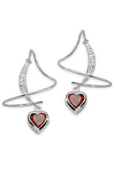 Red Garnet Heart & Diamond Earspirals in 14k White Gold.
